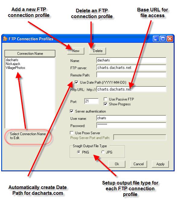 dbwSnagItFTP FTP Profile screen